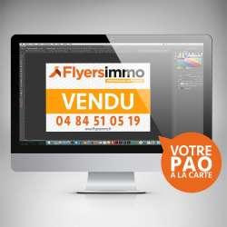 Flyersimmo dispose de son propre studio PAO pour vos cartes de visite, dépliants, brochures, panneaux immobilier