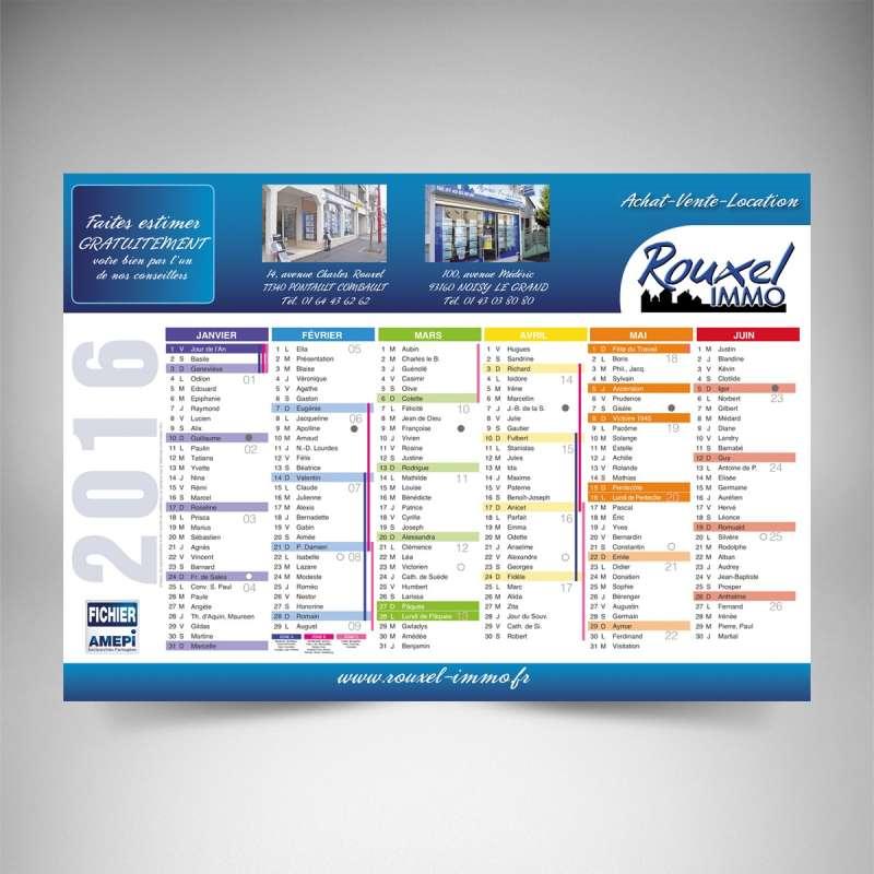 Impression calendrier publicitaire immobilier 2017 souple - Calendrier design ...