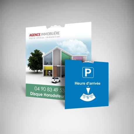 Disques stationnement personnalisés pour agence immobilière